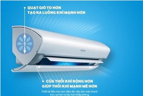 Không khí mát được thổi nhanh hơn, xa hơn và đều khắp phòng nhờ thiết kế tam diện độc đáo của máy điều hòa Samsung.